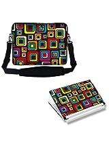 Meffort Inc 15 15.6 inch Laptop Carrying Sleeve Bag Case with Hidden Handle & Adjustable Shoulder Strap with Matching Skin Sticker Deal - Colorful Square Design