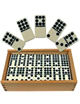 Premium Set of 55 Double Nine Dominoes with Wood Case brown