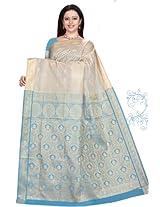 Ghasitaram Blue and white Silk Saree 253