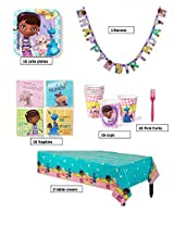 Doc Mc Stuffins Birthday Party Supplies Pack For 16 Guests! 1 Birthday Banner, 2 Table Covers, 16 Cups, 16 Napkins, 16 Plates, & 24 Forks.