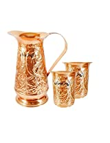 AsiaCraft Handmade Designer Best Quality Pure Copper Jug Pitcher Capacity 1.2 Liter With 2 Glass for Kitchen Home Ware Restaurant Ware Hotel Ware Home Decorate for Good Health Benefits Indian yoga Ayurveda