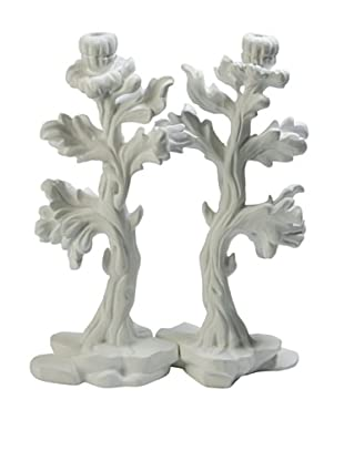 Studio A Bloom Candleholder Pair, White