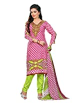 Divisha Fashion Pink and Green Cotton Printed Churiddar Suit with Dupatta