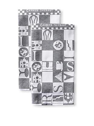 Garnier-Thiebaut Set of 2 Bistrot Kitchen Towels, Noir