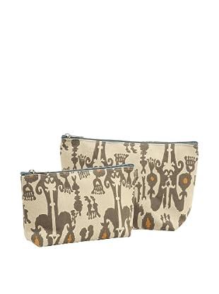 RockFlowerPaper Jewel Ikat Taupe Zip Bags (Set of 2)