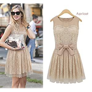 Women's Elegant Lace Mesh Yarn Splicing Dress
