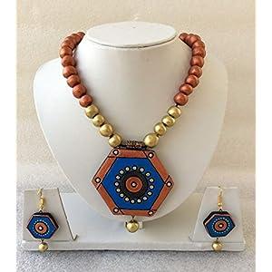 Anikalan Designs Copper geometric designerwear Terracotta Necklace Set