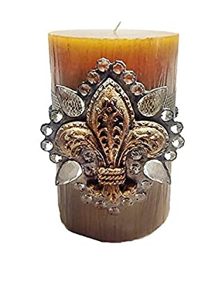 MAC Sculpture Fleur De Lis Accent On Wax Candle, Gold