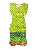 2Dots Women's Cotton Regular Fit Kurti (Green, 42 Inches)