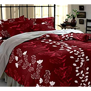 Home Ecstasy 100% Cotton Printed Bedsheet Set 3015 (Red, Double)