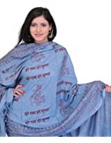 Exotic India Prayer Shawl with Printed Hare Ram Hare Krishna Mantra - Color AzureColor Free Size