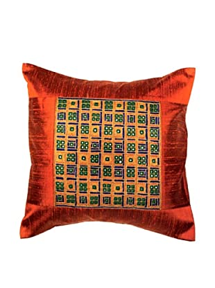 Mela Artisans Checkmate Cushion Cover (Red)