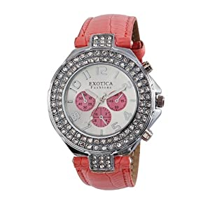 Exotica Fashions Pink Leather Analog Women Watch - EF-N-07