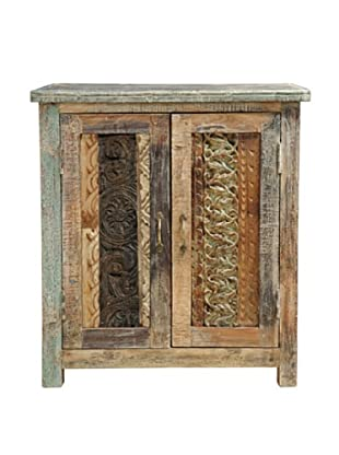 Classic Home Vintage-Inspired Carved Cabinet, Lime Wash