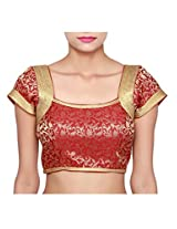 Isha Enterprise Women's Brocade Blouse Material(KFB-003_Maroon)