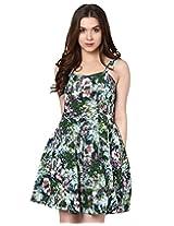 Green tropical print short strap dress