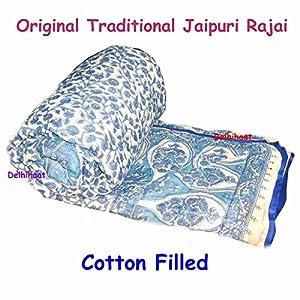 Saleshop365 Jaipuri Razai ( Quilt) Natural Cotton Stuffed White Base - Single Bed Size