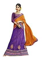 Suchi Fashion Purple and Orange Net Embroidery Border Work Semi Stitched Lehenga