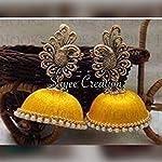 Yellow silk thread jhumka with German silver peacock stud by Sayee Creation