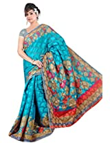 Khushali Women's Printed Multi Color Bhagalpuri Brasoo Saree With Unstitched Blouse Piece (Rama)