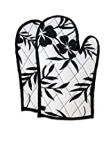 ShalinIndia Cotton Oven Mitts Printed Set of 2 Quilted Cooking Gloves,OG02-5313,Black,8 x12 Inch
