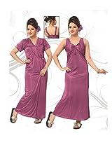 Indiatrendzs Women's Silk Satin Nighty Pink 2pc Set Sexy Sleepwear -Freesize