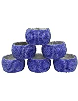 Set of 6 - Napkin Rings Blue Beads Round Napkin Rings for Wedding Party Holiday Dinner - Dia 2.5 Inches