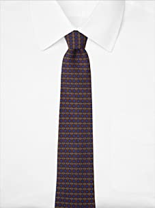 Hermès Men's Outlined Box Tie, Blue/Gold, One Size