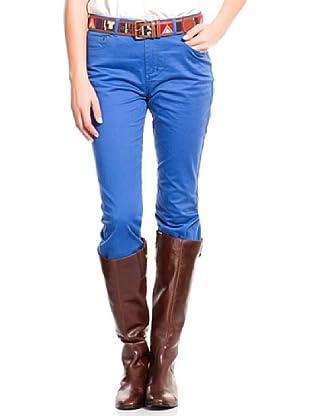 Cortefiel Pantalón Regular Algodón Esmerilad (Azul)