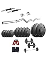 30 Kg Body Maxx Home Gym Set Rubber Plates + Dumbells rods + Gloves + Gripper + 3 FT EZ CURL BAR + Locks