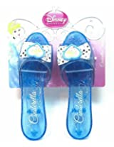 Disney Princess Collection Cinderella Shoes Slippers Clear Blue with Sparkles for Children to Dress up As Favorite Princess (1 Pair)