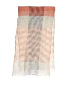 Amicale Men's Striped Plaid Scarf (Orange/Grey)