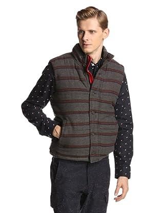 Burkman Bros Men's Horizontal Striped Wool Vest (Dark Heather Grey)