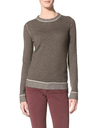 Kokun Women's Double Knit Crew Sweater (Spruce/Grey)