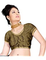 Khoobee Presenting Festive Special Art Silk Jacquard Stitched Blouse.(Dark Mehandi)