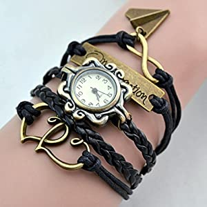 One Direction Watch Charm Bracelet+Twin Hearts+Infinity+One Direction+Airplane+Leather
