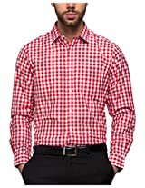 Reid&Taylor Men's Casual Shirt (Ew-Pz016, Red And White, Xl)