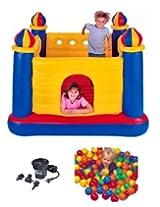 INTEX Inflatable Jump-O-Lene Ball Pit Castle Bouncer w/ Air Pump & Plastic Balls by Intex