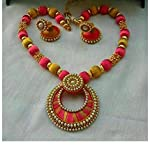 golden with pink necklace set