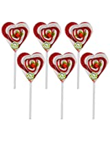 Kandee Sweet Heart Classic Strawberry (Pack of 6 Natural Colour Lollipop)