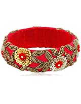 Chamak by priya kakkar Red Rosa Velvet Beaded Bangle Bracelet