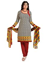 Inddus Women Beige & Red Colored Printed Dress Material