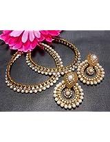 Earrings - White Pearl golden anklet and Pearl Polki Earrings