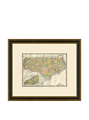 Antique Lithographic Map of North Carolina, 1886-1899