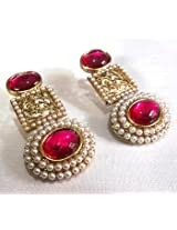 Earrings - Circle Pearl Dark Pink Earrings