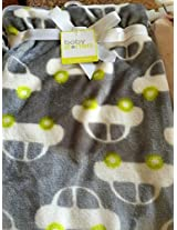 Super Soft Grey and White Car Baby Blanket 30x40 in (76x102cm)