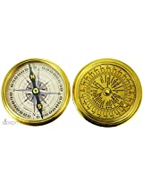 Antique Nautical 40 Years Calender , Pocket Compass, On a Sunny Day Poem in Shinny Brass Unique Collectible