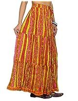 Rajrang Green, Pink Partywear Printed Women Skirts