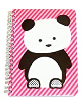 """Carolina Pad Studio C College Ruled the Hair of the Dog Spiral Notebook ~ Panda on Pink Stripes (5"""""""