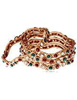 Variation Set Of 4 Curvy Copper Bangle For Women-VDAM0065